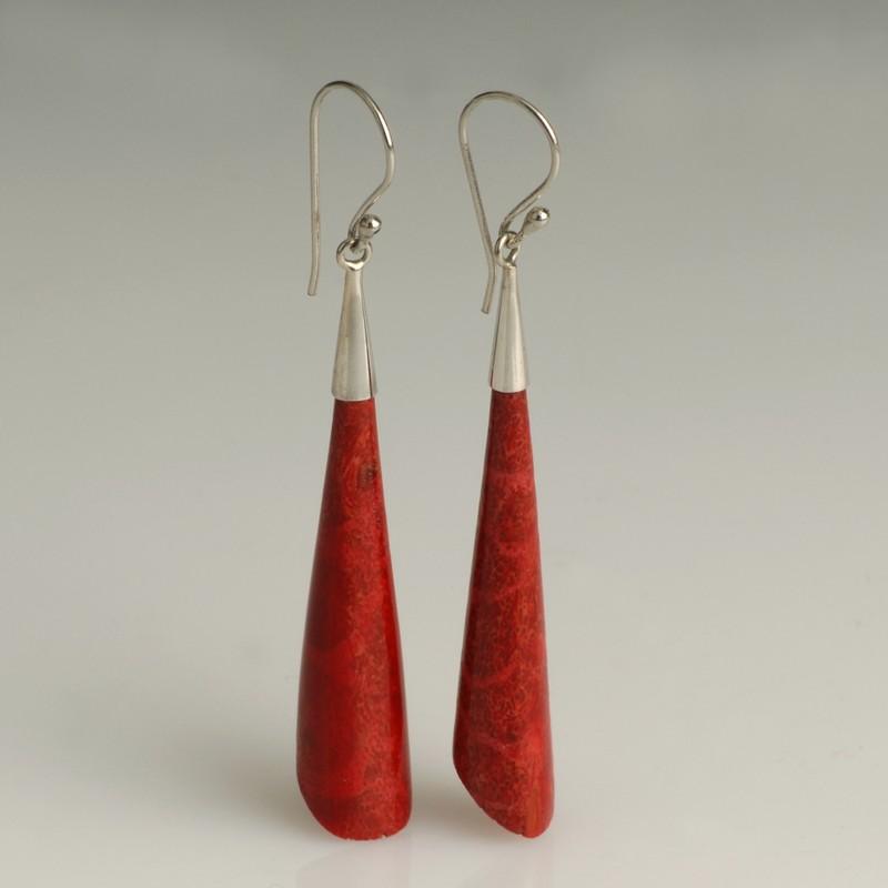 corail rouge Boucles d/'oreilles EN ARGENT 925