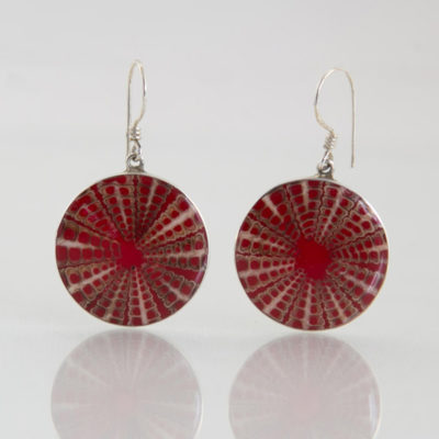 Boucles d'oreilles / Argent 925 Coquillage / Oursin rouge rond