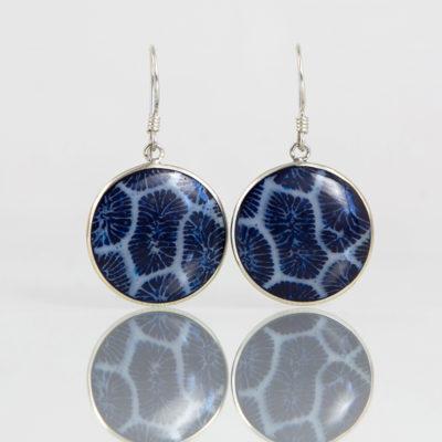 Boucles d'oreilles / Argent 925 Coquillage / Dormeuse Corail bleu