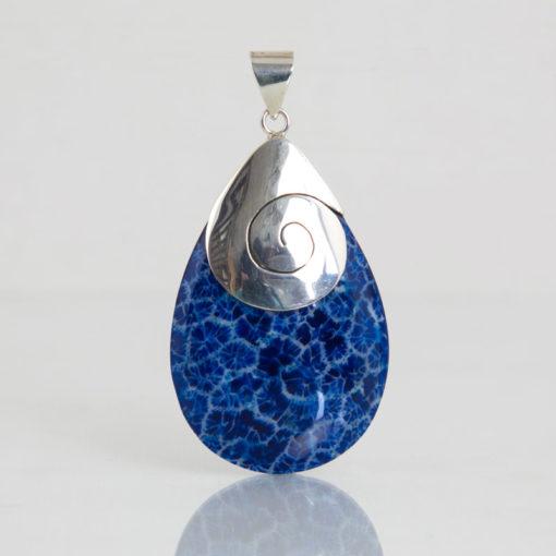 Pendentifs / Argent 925 Coquillage / Goutte Spirale Corail bleu